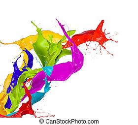 színezett, loccsan, háttér, elszigetelt, festék, fehér