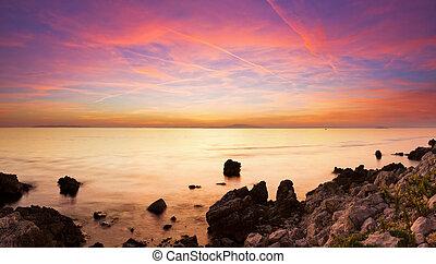 színezett, tengerpart, panoráma
