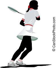 színezett, tenisz, player., ábra, vektor, rajzoló