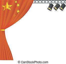 színház, china., vektor