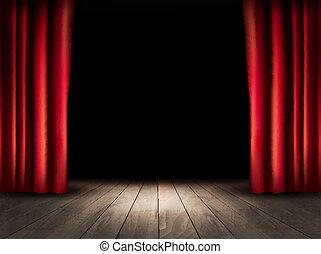 színház, emelet, fából való, vector., curtains., piros,...