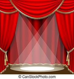 színház, stage., mesh.