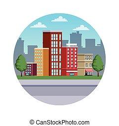 színhely, cityscape, épületek, urban út