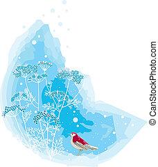 színhely, madár, tél