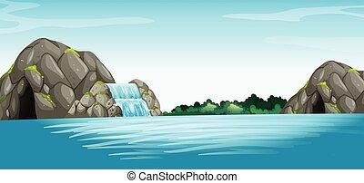 színhely, noha, vízesés, és, barlang
