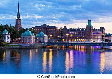 színpadi, stockholm, este, svédország, panoráma