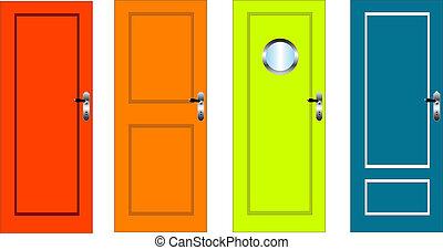 színpompás, ajtók