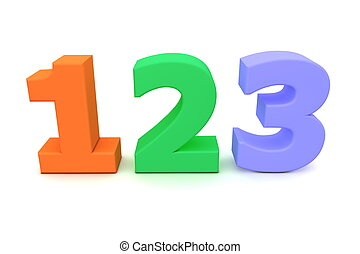 színpompás, számok, 123