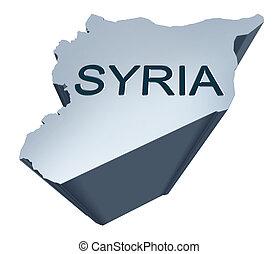 szíria, dimenzionális, térkép