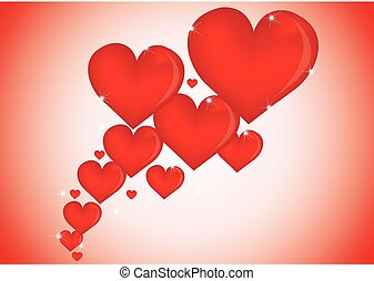 szív, Ábra, kedves, háttér, vektor, elegáns, Nap, piros