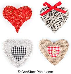 szív, állhatatos, alakú, dekoráció, felett, háttér, fehér