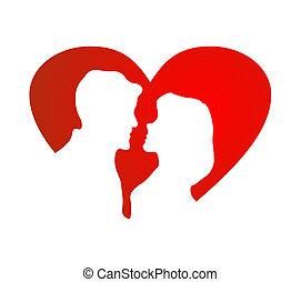 szív, árnykép, ellen, leány, pasas, piros