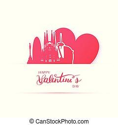 szív, árnykép, város, barcelona, dolgozat, stickers., piros