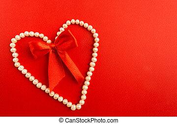 szív, ékszerkereskedés, felett, íj, gyöngyszem, háttér, white piros