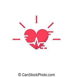 szív, éljenzés, kardiogram, ikonok, Kényszer, vektor, Vér