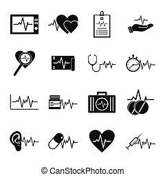 szív, érverés, dobog, ikonok, állhatatos, egyszerű, mód