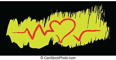 szív, érverés, skicc