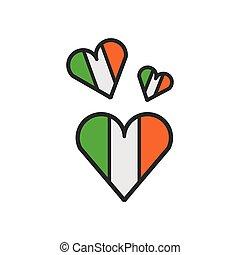 szív, ír, állhatatos, zászlók, alakít