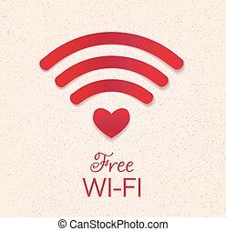 szív, access., grunge, mutat, cégtábla., wifi, alakít, szabad, jelkép, háttér., összeköttetés, vektor, sárga, hotspot, textured, wi-fi, piros, ikon