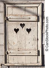 szív, ajtó, néz, fából való, outhouse., alakít, ki