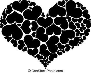szív, alakítás, elszigetelt, alakzat, háttér., nagy, fehér