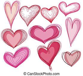 szív alakzat, állhatatos, kéz, húzott