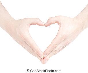 szív alakzat, által, kézbesít