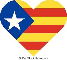 szív alakzat, blava, lobogó, estelada, catalonia