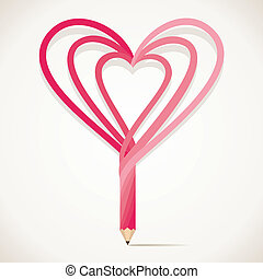 szív alakzat, ceruza