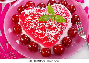 szív alakzat, cseresznye torta