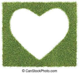 szív alakzat, fű