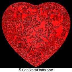 szív alakzat, gyémánt, black piros