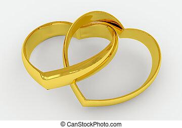 szív alakzat, gyűrű, arany, esküvő