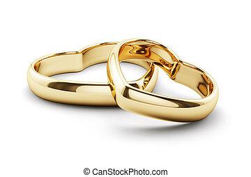 szív alakzat, gyűrű, elszigetelt, arany-