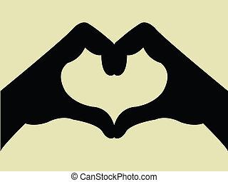 szív alakzat, kezezés gesztus