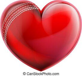 szív alakzat, krikett labda