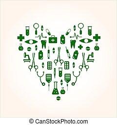 szív alakzat, noha, orvosi icons, helyett, -e, tervezés