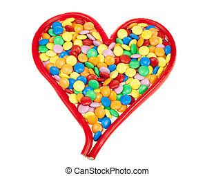 szív alakzat, színezett, cukorka