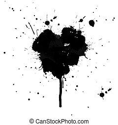 szív alakzat, tinta, bepiszkol, elszigetelt, white, háttér