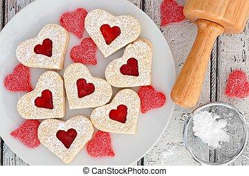 szív alakzat, valentines nap, süti, noha, dzsem, és, cukorkák, felső, színhely, white, erdő