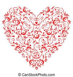 szív alakzat, virágos, díszítés, helyett, -e, tervezés