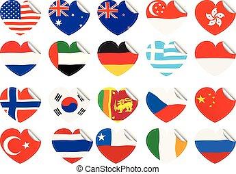 szív alakzat, zászlók, nemzetközi