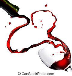 szív, alapján, folyik piros bor, alatt, talpas pohár,...