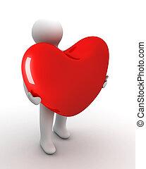 szív, alatt, egy, gift., elszigetelt, 3, image.