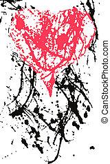 szív, alatt, tinta, loccsanás, hatás