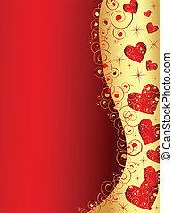 szív, arany, függőleges, elvont, hullámos, keret, piros