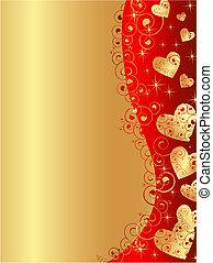 szív, arany, függőleges, keret, hullámos, piros