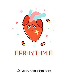 szív, arrhythmia, poster.