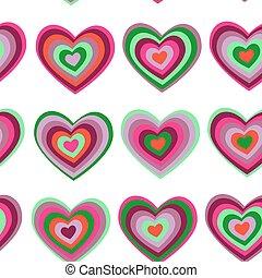 szív, bíbor, valentine's, pattern., seamless, nap, vektor, zöld háttér, esküvő, csíkos, fehér
