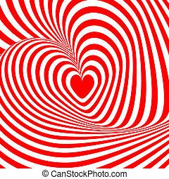 szív, backdrop., illúzió, elvont, ábra, elferdítés, háttér., tervezés, örvény, forgás, vector-art, csíkos